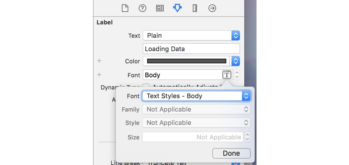 Choosing a named font style with the Attributes Inspector in Interface Builder